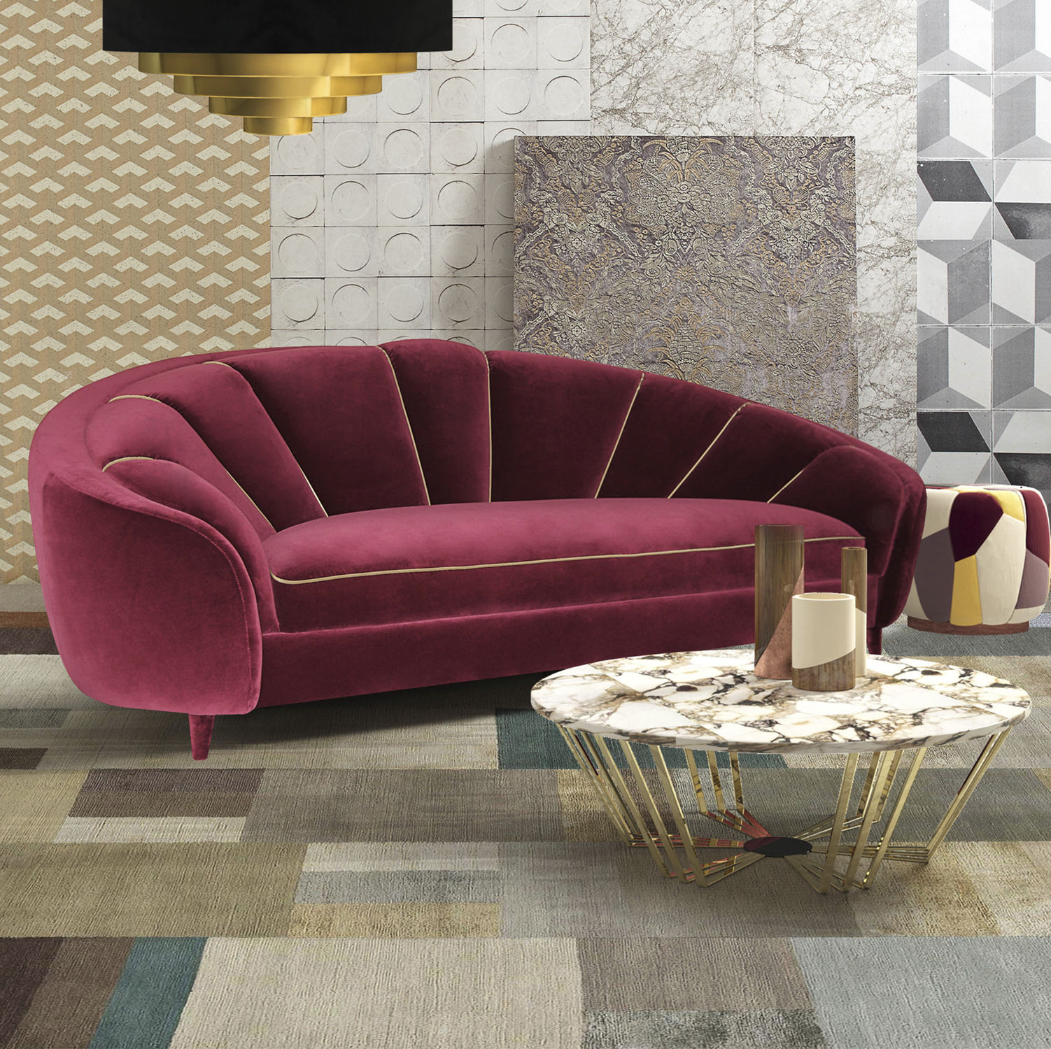 Claret Art Deco sofa