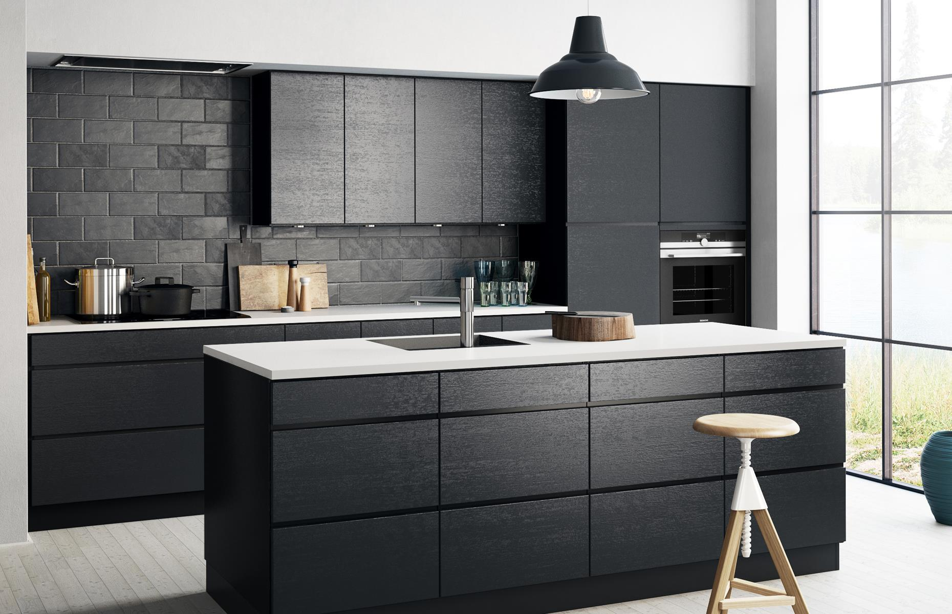 Black kitchen white countertop