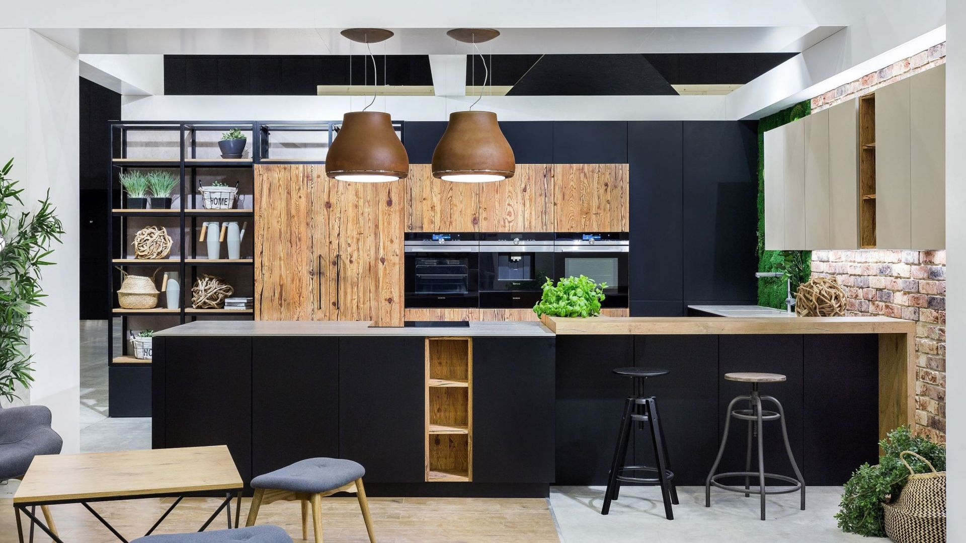Black kitchen wooden countertop