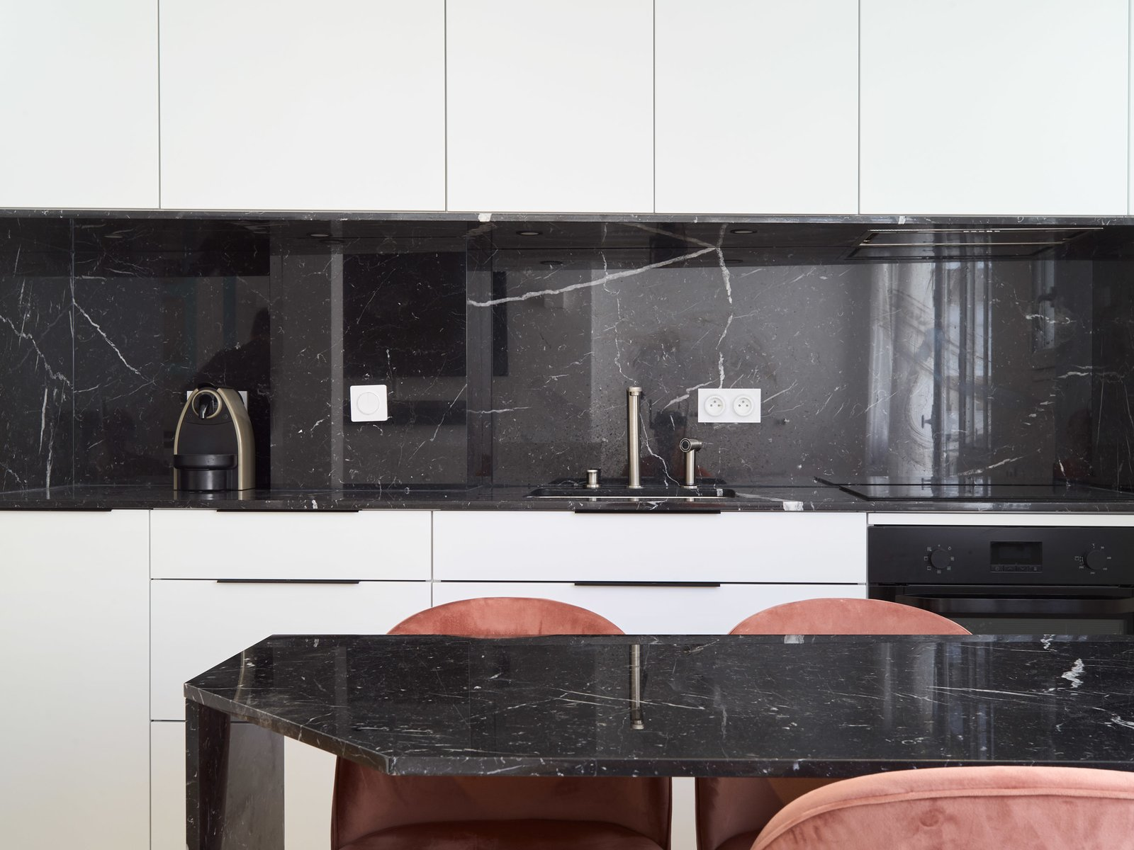 Black kitchen white furniture