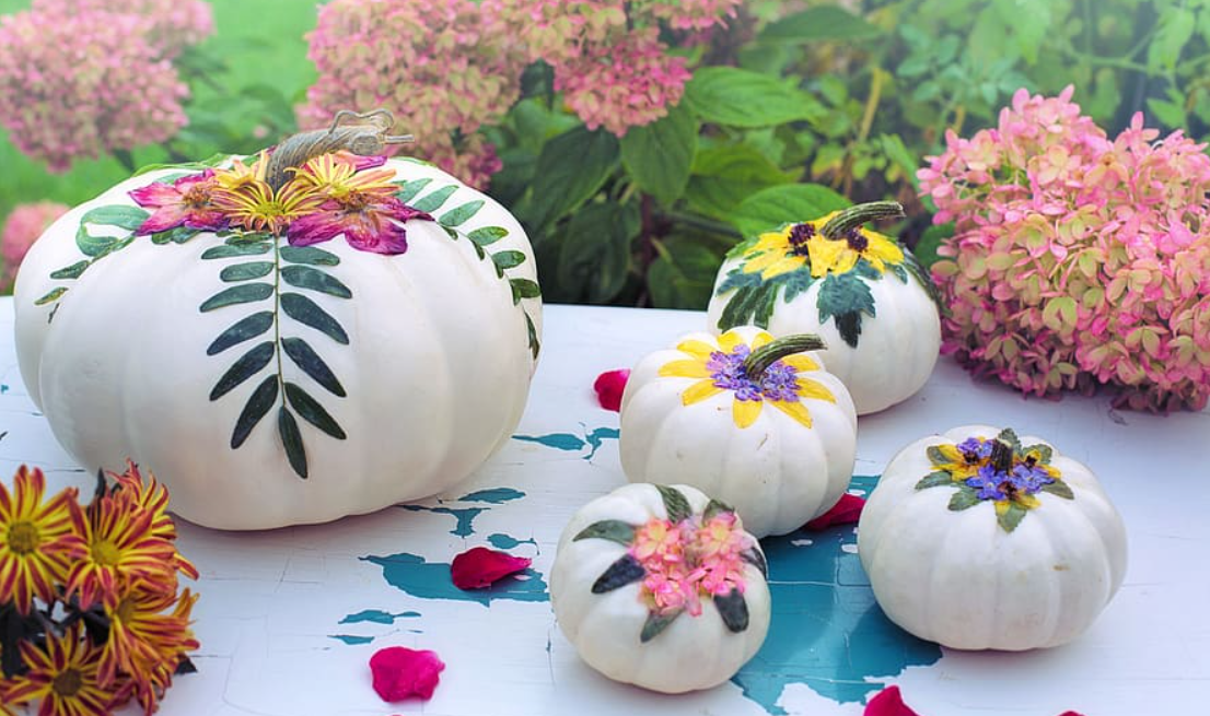 Fall decor with painted pumpkins