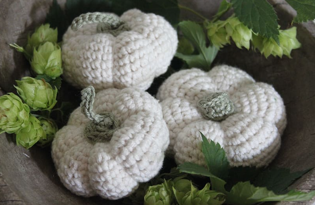 Fall crafts from wool pumpkins