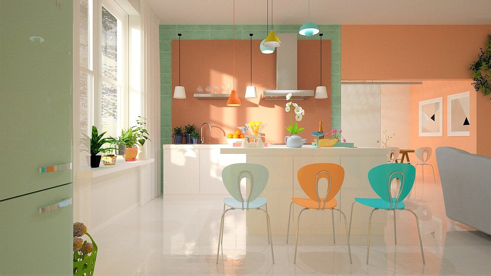 A Scandinavian kitchen with colorful accessories
