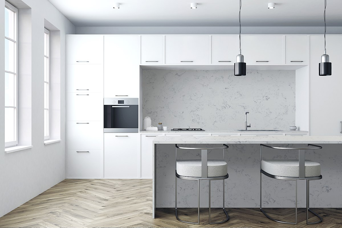 White Scandinavian kitchen design