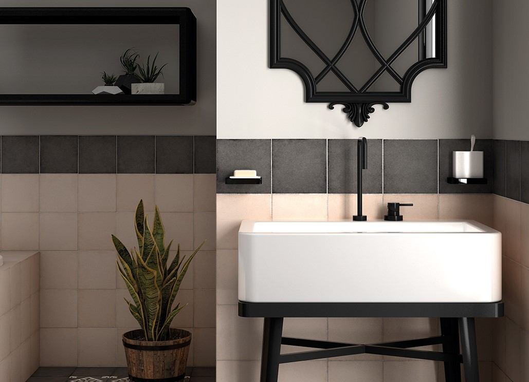 A modern attic bathroom – black accessories and green color