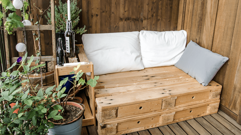 A low budget balcony decoration - use pallet furniture