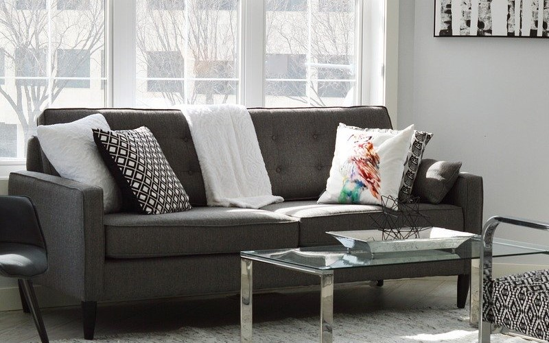 Charcoal to accentuate sofa and armchairs