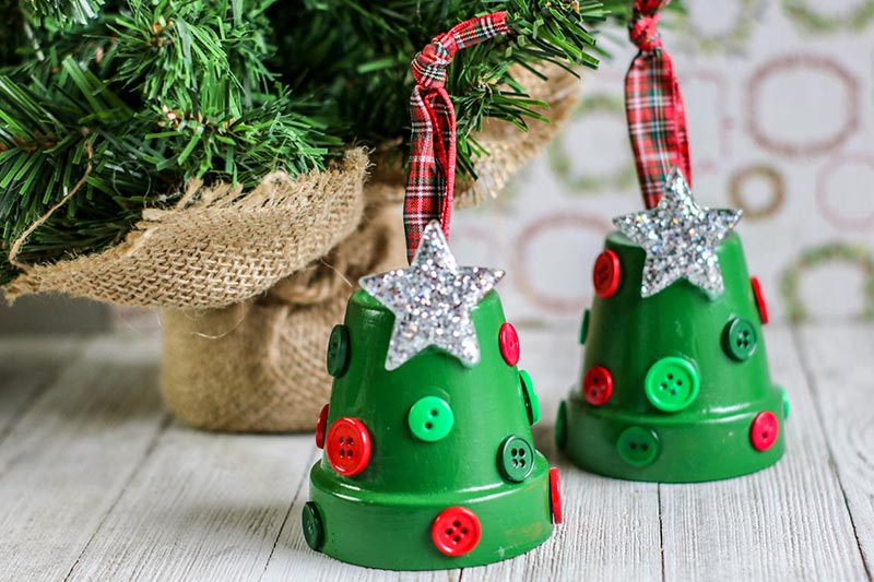 Traditional Christmas ornaments - flower pot Christmas trees