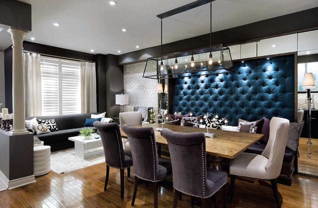 Мягкая гостиная с обеденной зоной панелями