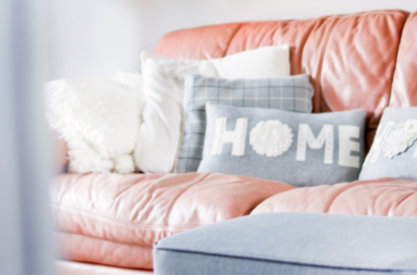 Pastel colors salmon pink sofa
