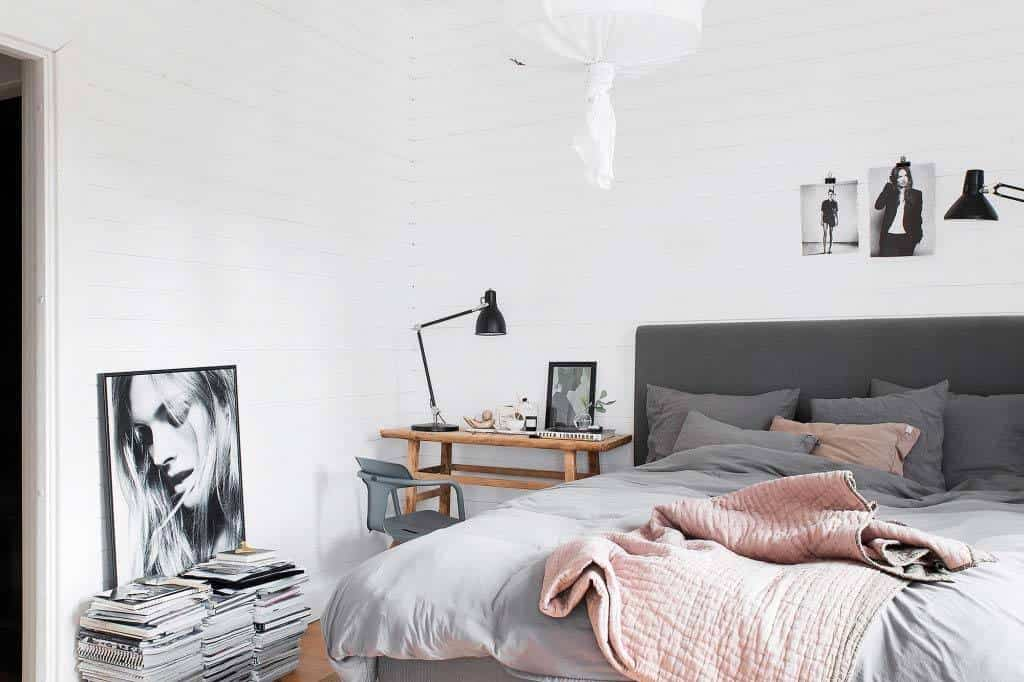 Scandinavian bedroom design - shades of grey