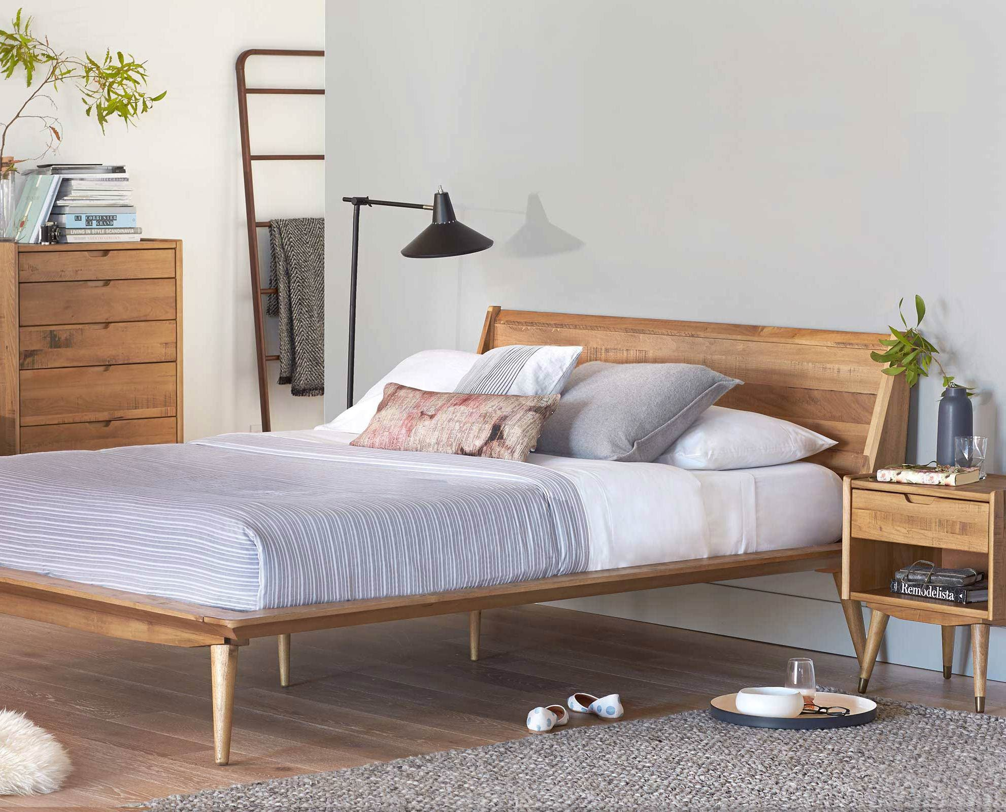 Wooden Scandi bed and furniture - Scandinavian bedroom
