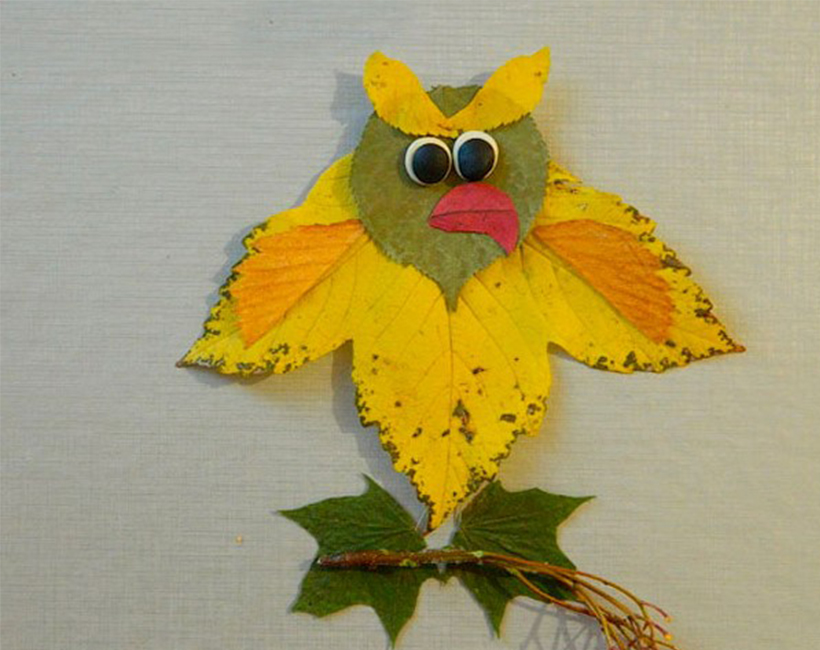 Fall crafts from leaves and paper - it's easy! Owl
