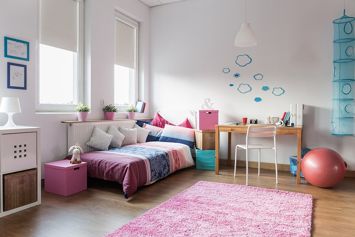 Pastel colors in a children's or teen bedroom