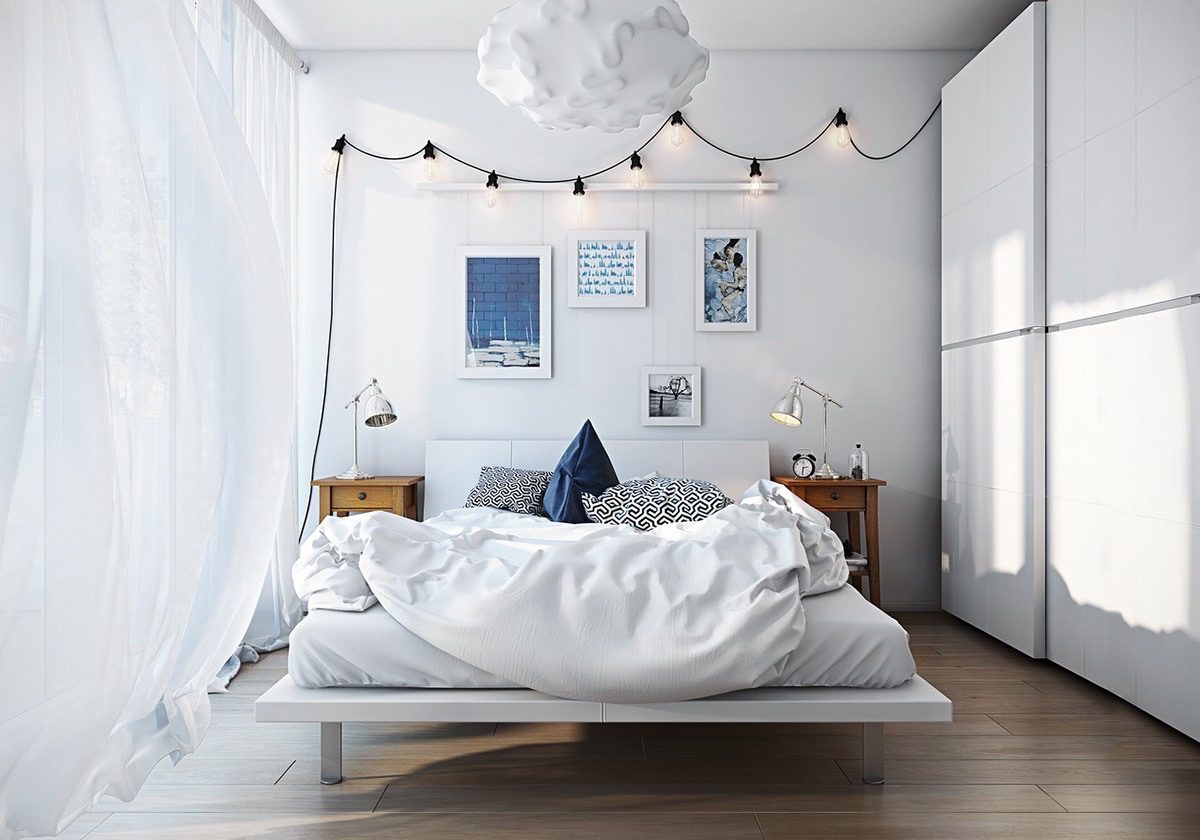 White Scandinavian bedroom - colorful decorations