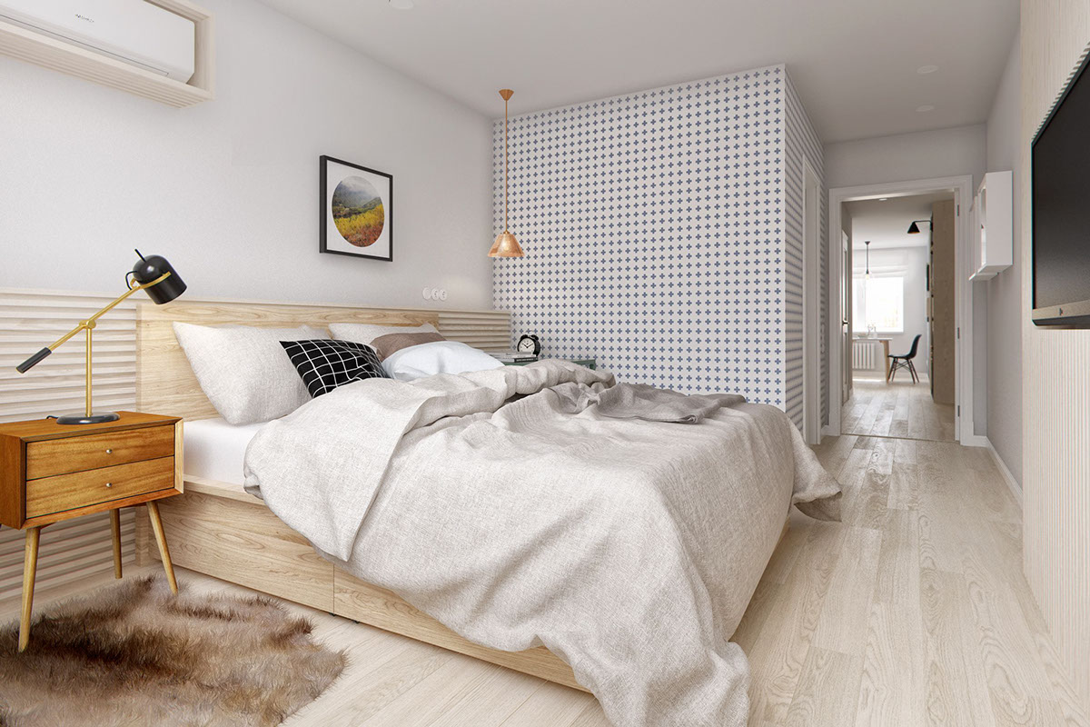 Scandinavian style bedroom - wood