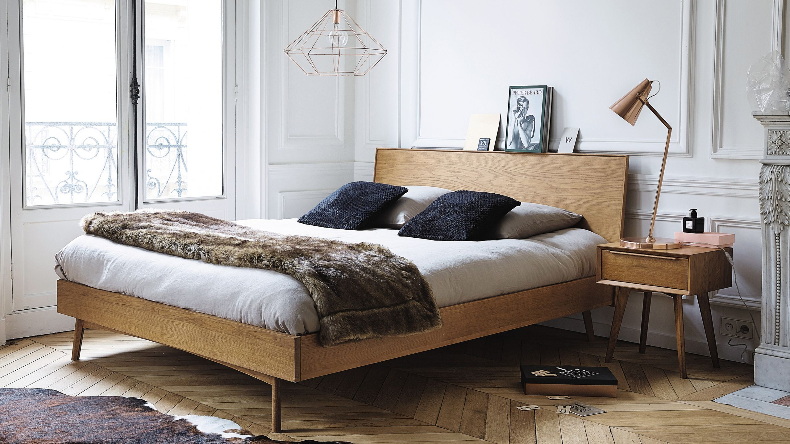 Scandinavian bedroom with wood