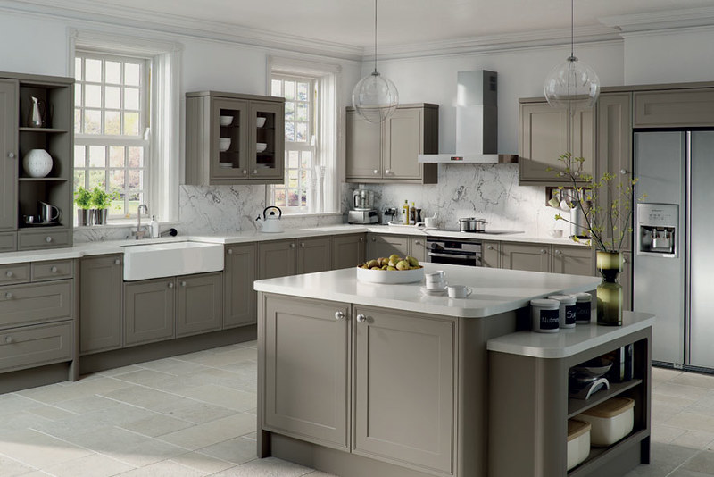 Grey kitchen cabinets set