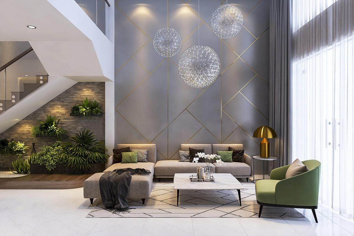 Декоративная стена серая гостиная
